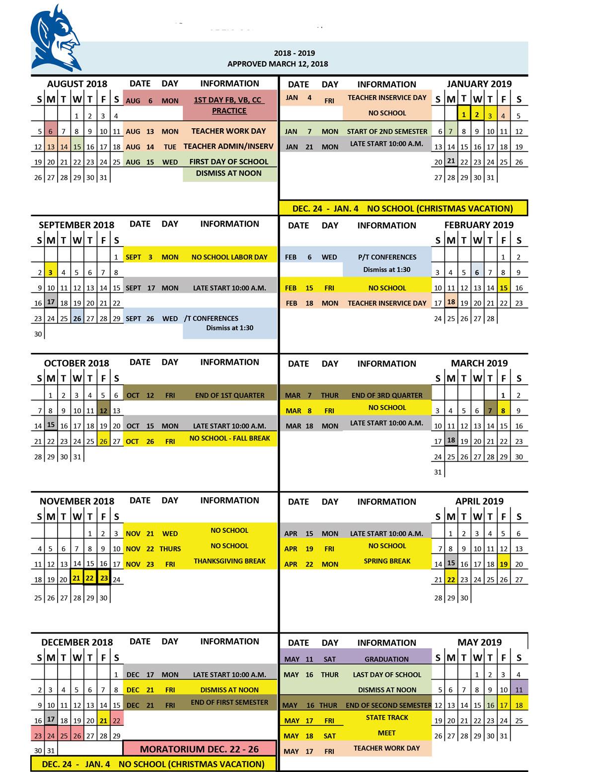 dates of attendance calendar 2018/2019 kenesaw public schools